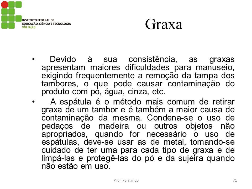 Graxa Devido à sua consistência, as graxas apresentam maiores dificuldades para manuseio, exigindo frequentemente a remoção da tampa dos tambores, o q