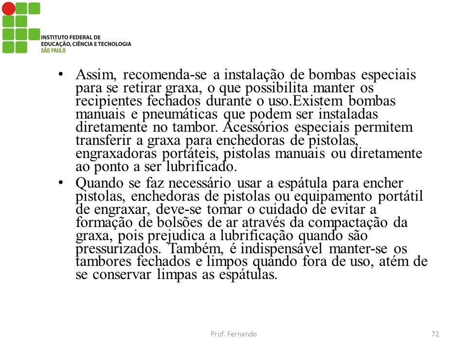 Assim, recomenda-se a instalação de bombas especiais para se retirar graxa, o que possibilita manter os recipientes fechados durante o uso.Existem bom