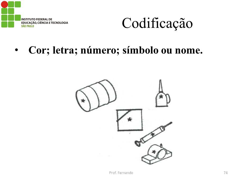 Codificação Cor; letra; número; símbolo ou nome. Prof. Fernando74