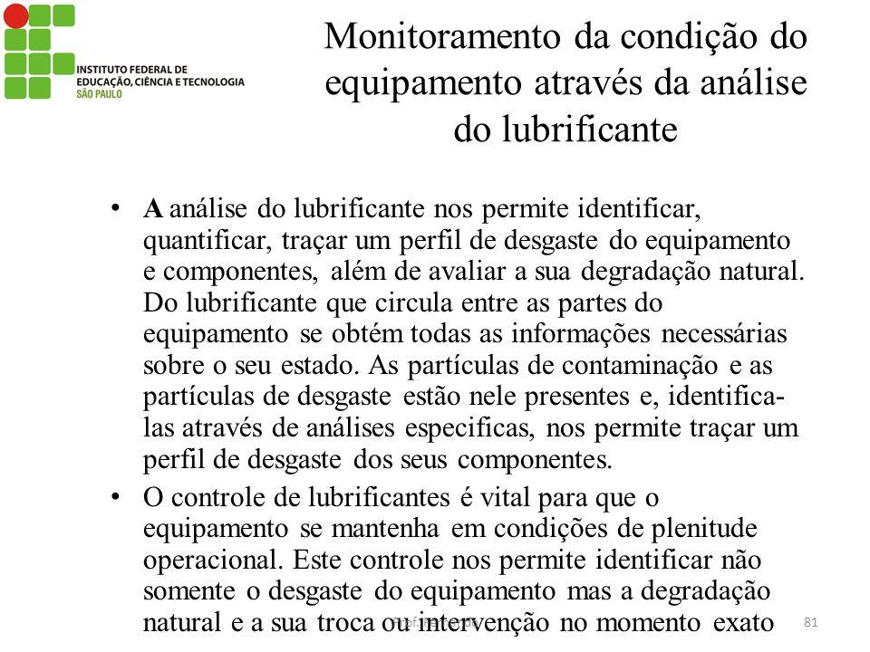 Monitoramento da condição do equipamento através da análise do lubrificante A análise do lubrificante nos permite identificar, quantificar, traçar um