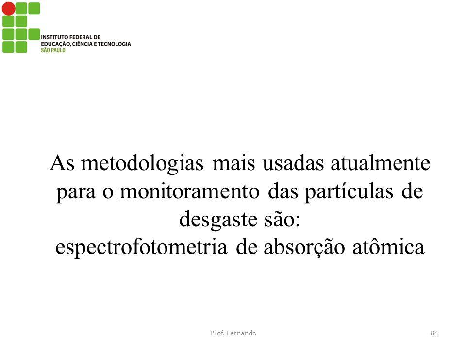 As metodologias mais usadas atualmente para o monitoramento das partículas de desgaste são: espectrofotometria de absorção atômica Prof. Fernando84