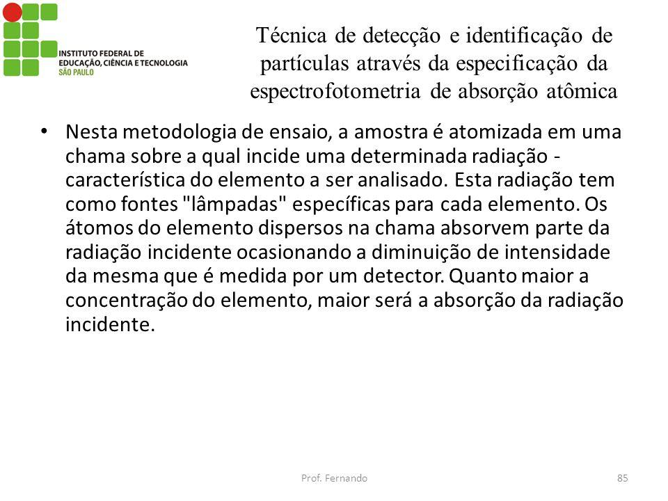 Técnica de detecção e identificação de partículas através da especificação da espectrofotometria de absorção atômica Nesta metodologia de ensaio, a am