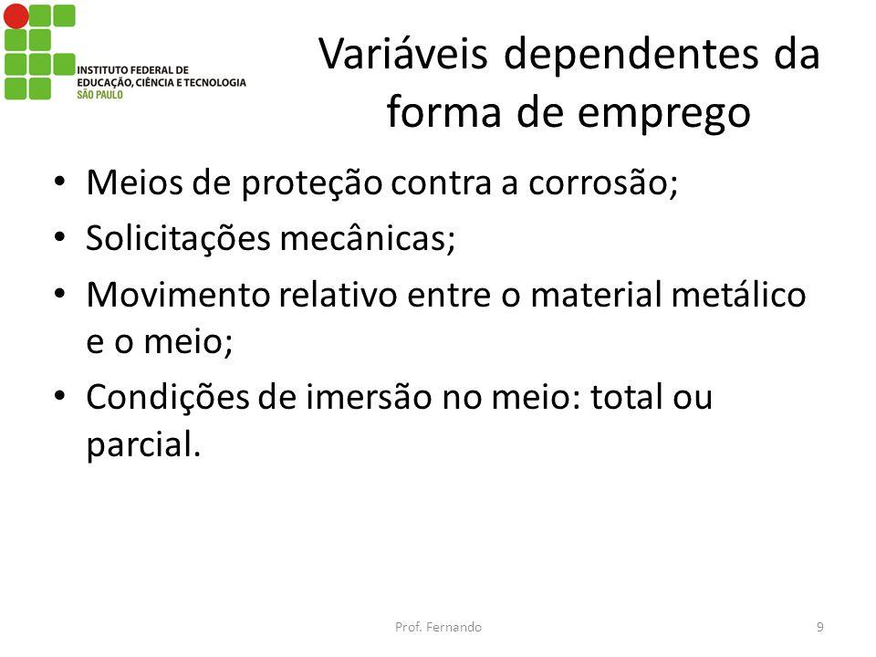 Variáveis dependentes da forma de emprego Meios de proteção contra a corrosão; Solicitações mecânicas; Movimento relativo entre o material metálico e