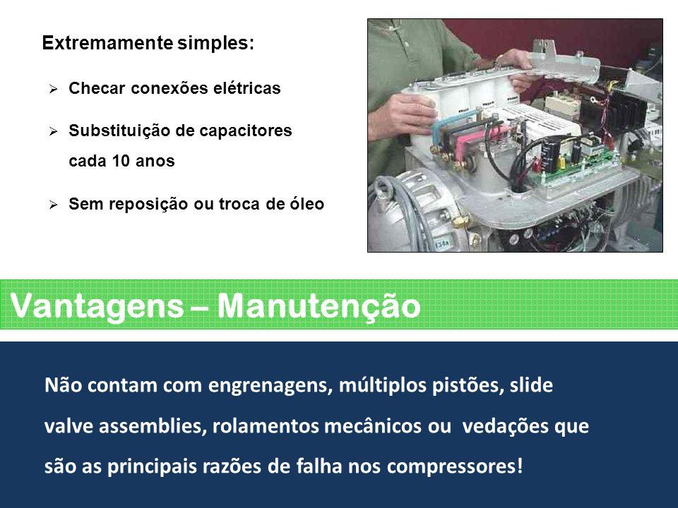 Vantagens – Manutenção Não contam com engrenagens, múltiplos pistões, slide valve assemblies, rolamentos mecânicos ou vedações que são as principais r