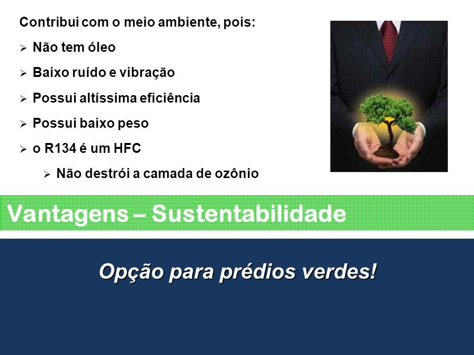 Vantagens – Sustentabilidade Opção para prédios verdes! Contribui com o meio ambiente, pois: Não tem óleo Baixo ruído e vibração Possui altíssima efic