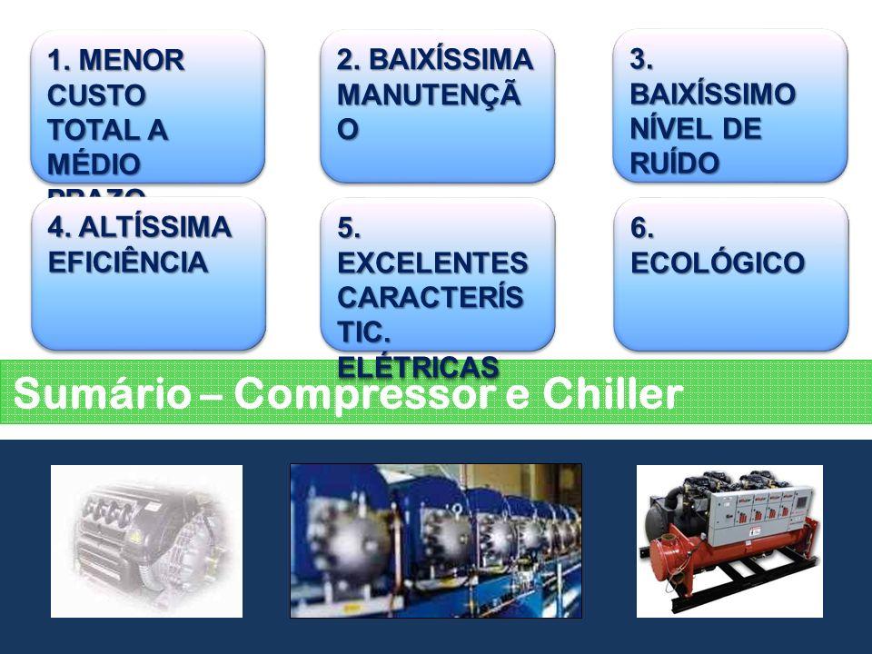 Sumário – Compressor e Chiller 1. MENOR CUSTO TOTAL A MÉDIO PRAZO 2. BAIXÍSSIMA MANUTENÇÃ O 3. BAIXÍSSIMO NÍVEL DE RUÍDO 4. ALTÍSSIMA EFICIÊNCIA 5. EX