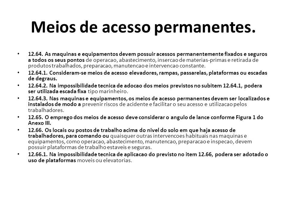 Meios de acesso permanentes. 12.64. As maquinas e equipamentos devem possuir acessos permanentemente fixados e seguros a todos os seus pontos de opera