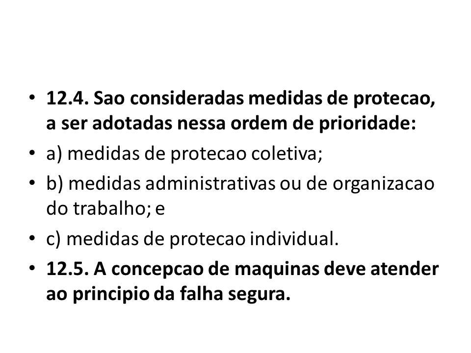 12.4. Sao consideradas medidas de protecao, a ser adotadas nessa ordem de prioridade: a) medidas de protecao coletiva; b) medidas administrativas ou d
