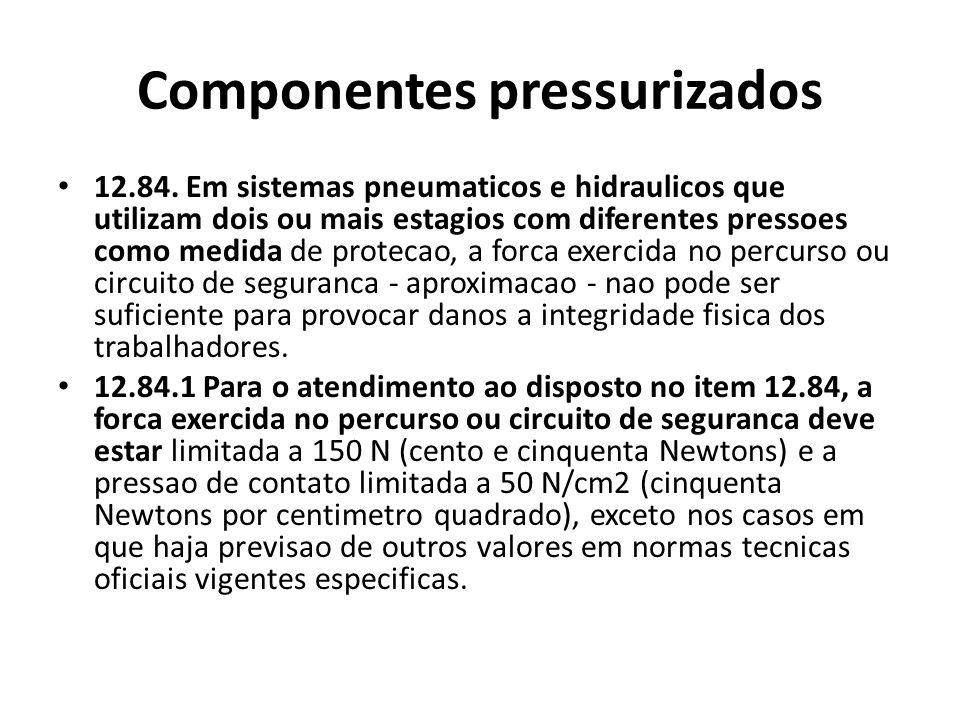 Componentes pressurizados 12.84. Em sistemas pneumaticos e hidraulicos que utilizam dois ou mais estagios com diferentes pressoes como medida de prote