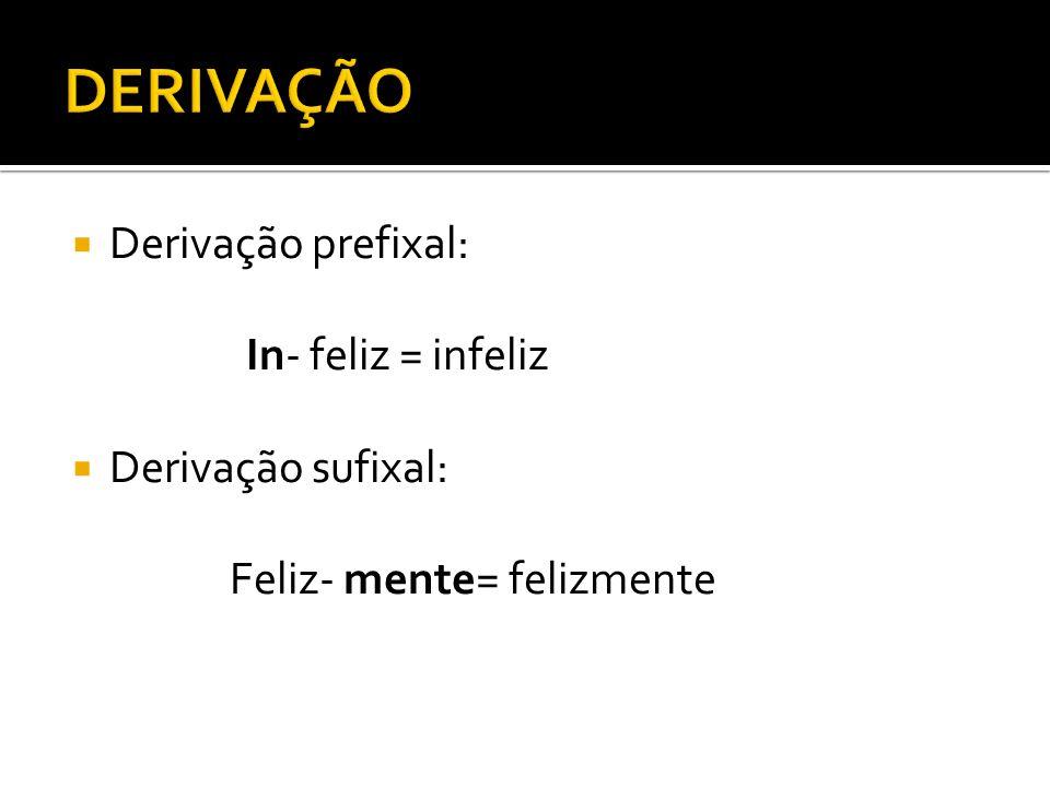 Derivação prefixal: In- feliz = infeliz Derivação sufixal: Feliz- mente= felizmente