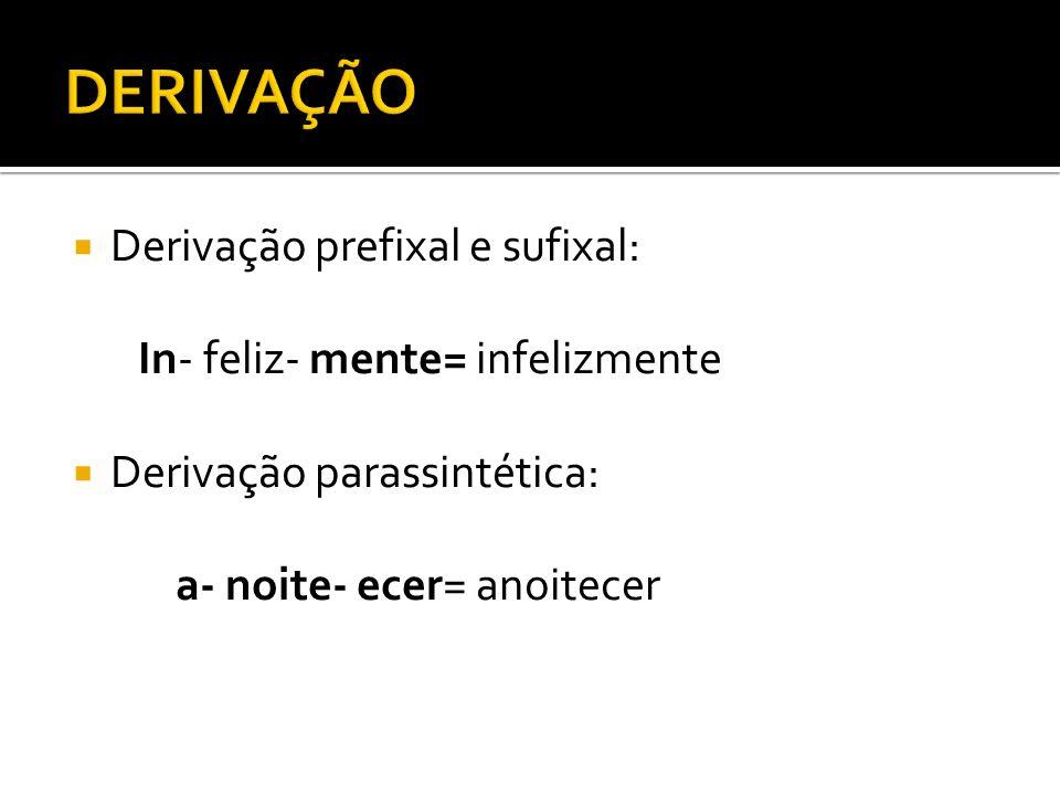 Derivação prefixal e sufixal: In- feliz- mente= infelizmente Derivação parassintética: a- noite- ecer= anoitecer