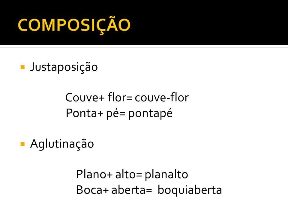 Justaposição Couve+ flor= couve-flor Ponta+ pé= pontapé Aglutinação Plano+ alto= planalto Boca+ aberta= boquiaberta