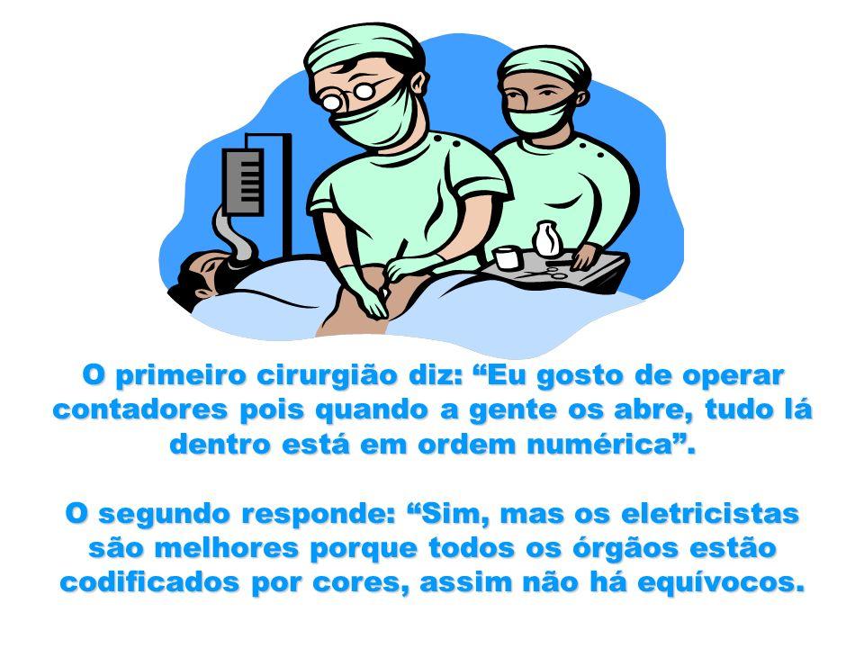 O primeiro cirurgião diz: Eu gosto de operar contadores pois quando a gente os abre, tudo lá dentro está em ordem numérica.