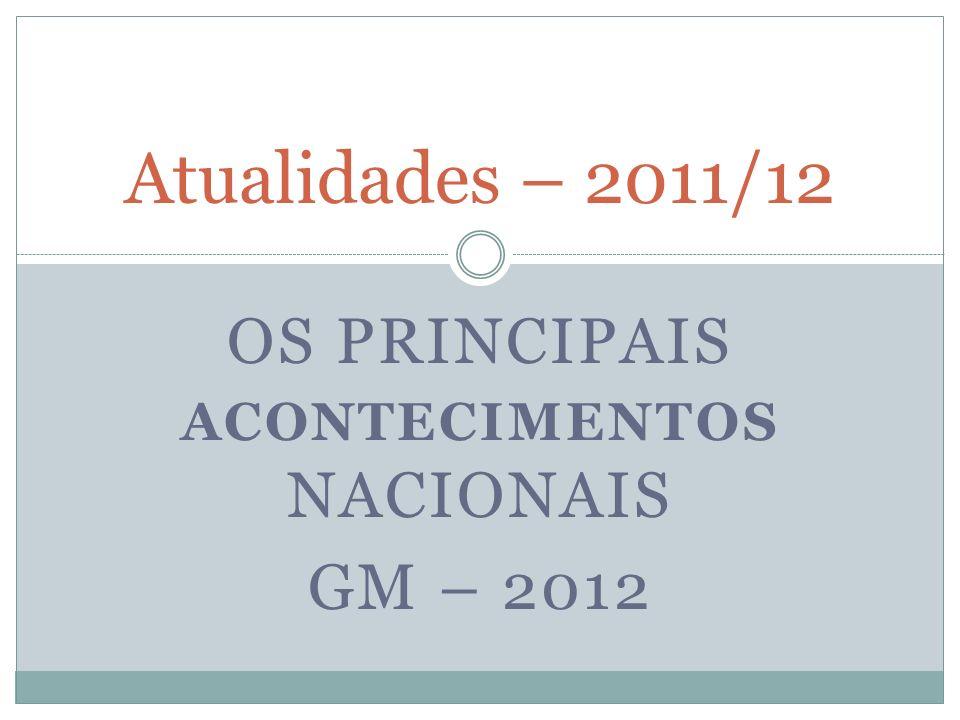OS PRINCIPAIS ACONTECIMENTOS NACIONAIS GM – 2012 Atualidades – 2011/12