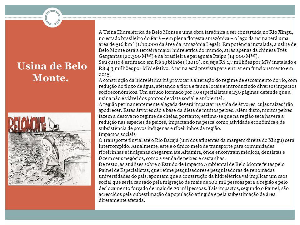 Usina de Belo Monte. A Usina Hidrelétrica de Belo Monte é uma obra faraônica a ser construída no Rio Xingu, no estado brasileiro do Pará – em plena fl