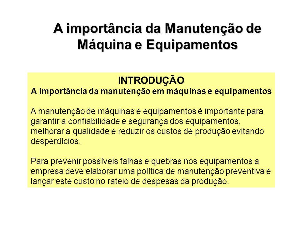 INTRODUÇÃO A importância da manutenção em máquinas e equipamentos A manutenção de máquinas e equipamentos é importante para garantir a confiabilidade