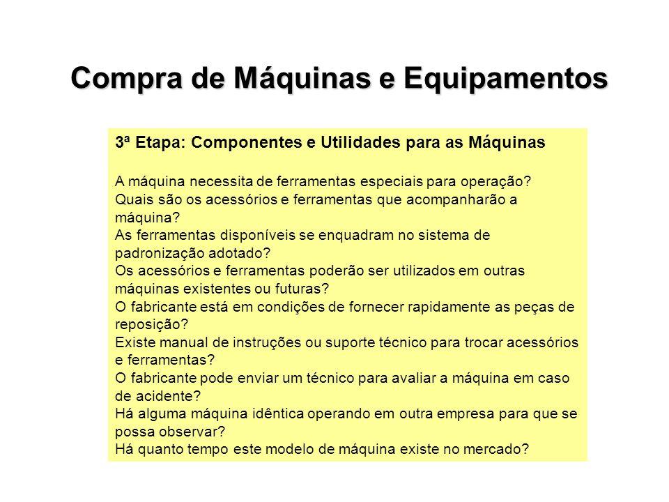 3ª Etapa: Componentes e Utilidades para as Máquinas A máquina necessita de ferramentas especiais para operação? Quais são os acessórios e ferramentas