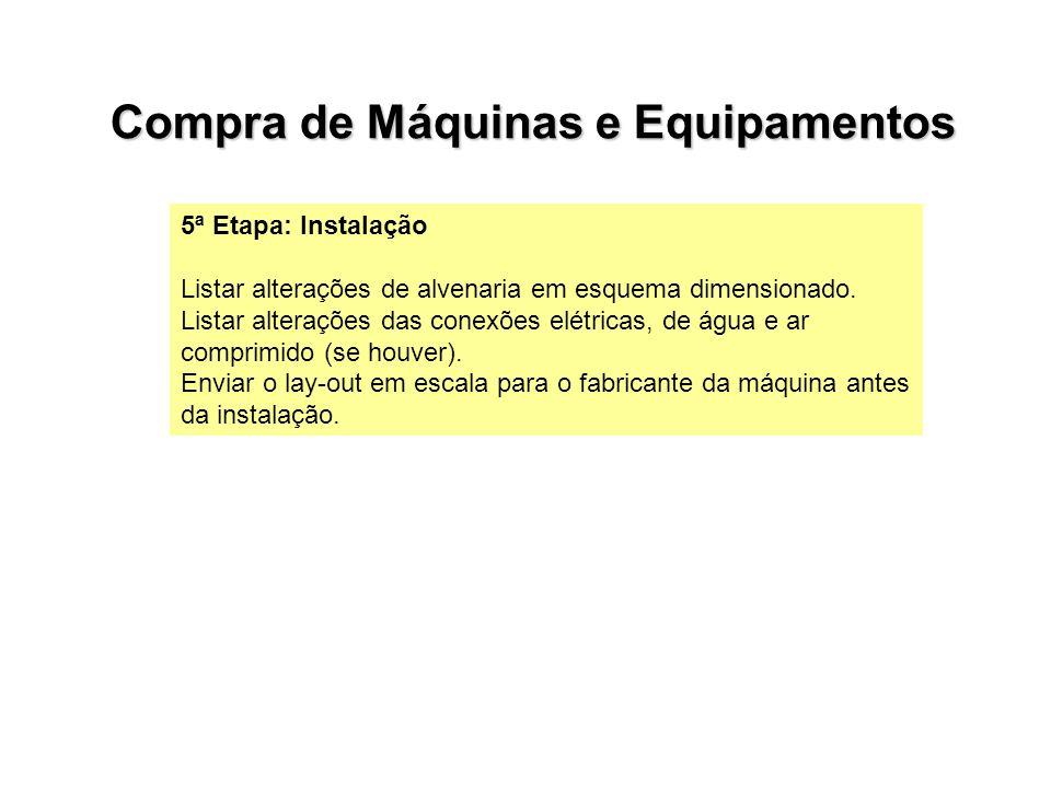 5ª Etapa: Instalação Listar alterações de alvenaria em esquema dimensionado. Listar alterações das conexões elétricas, de água e ar comprimido (se hou