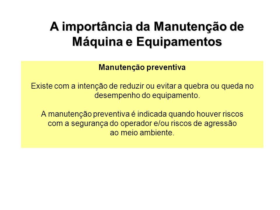 A importância da Manutenção de Máquina e Equipamentos Manutenção preventiva Existe com a intenção de reduzir ou evitar a quebra ou queda no desempenho