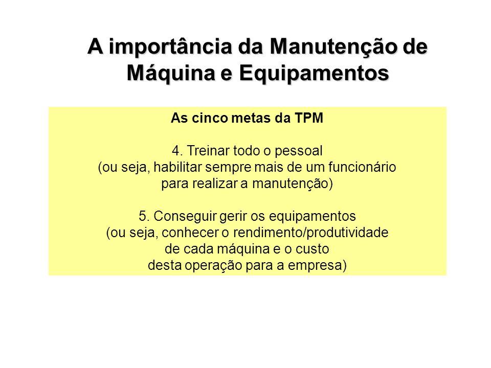 A importância da Manutenção de Máquina e Equipamentos As cinco metas da TPM 4. Treinar todo o pessoal (ou seja, habilitar sempre mais de um funcionári