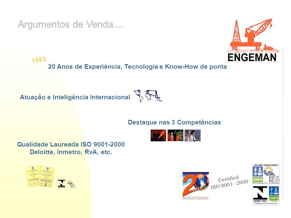 Certified ISO 9001- 2000 Argumentos de Venda.... 20 Anos de Experiência, Tecnologia e Know-How de ponta Atuação e Inteligência Internacional Destaque