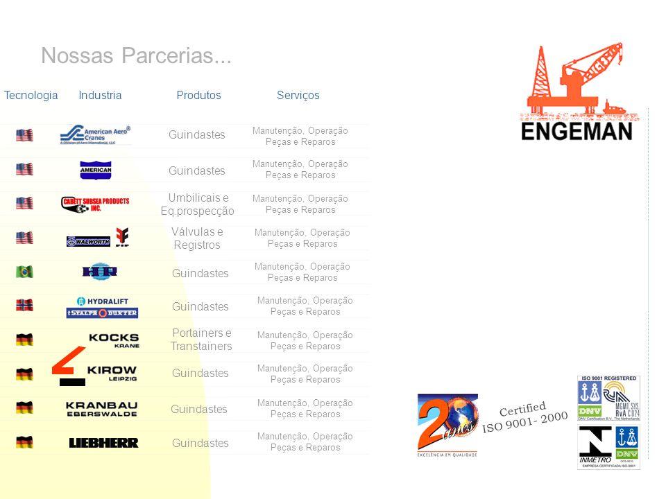 Certified ISO 9001- 2000 Nossas Parcerias... TecnologiaIndustriaProdutosServiços Guindastes Portainers e Transtainers Guindastes Válvulas e Registros