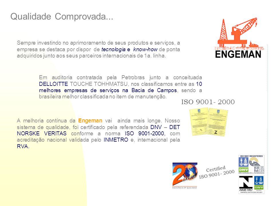 Certified ISO 9001- 2000 ISO 9001- 2000 Qualidade Comprovada... Sempre investindo no aprimoramento de seus produtos e serviços, a empresa se destaca p
