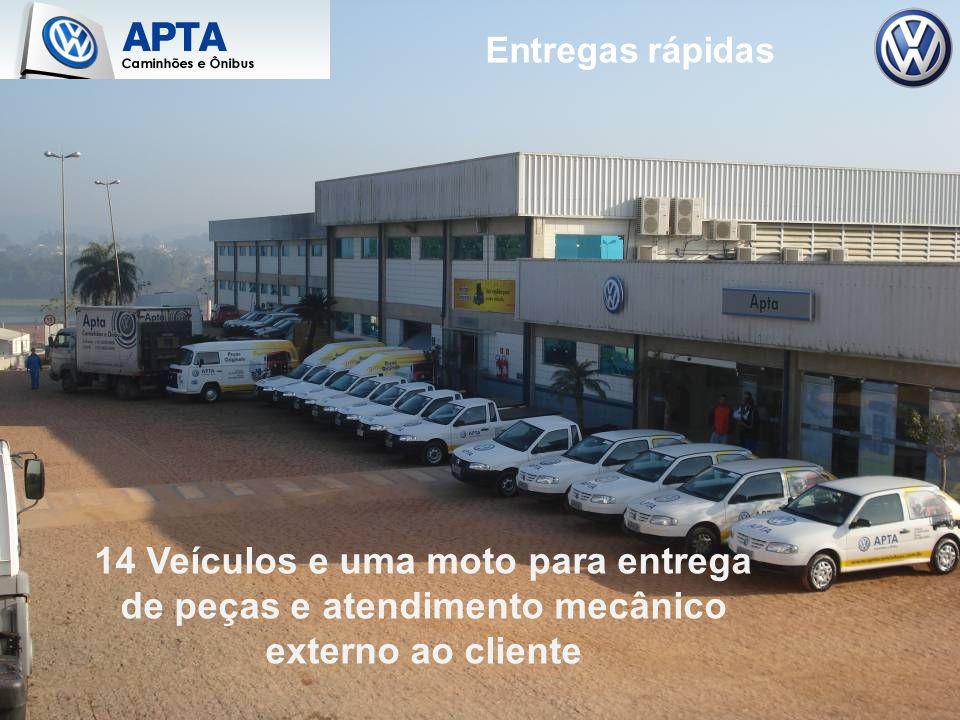 14 Veículos e uma moto para entrega de peças e atendimento mecânico externo ao cliente Entregas rápidas