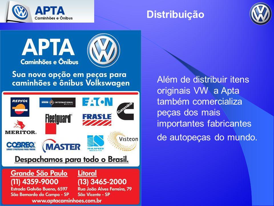 Além de distribuir itens originais VW a Apta também comercializa peças dos mais importantes fabricantes de autopeças do mundo. Distribuição