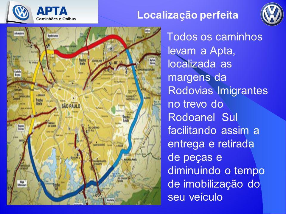Todos os caminhos levam a Apta, localizada as margens da Rodovias Imigrantes no trevo do Rodoanel Sul facilitando assim a entrega e retirada de peças