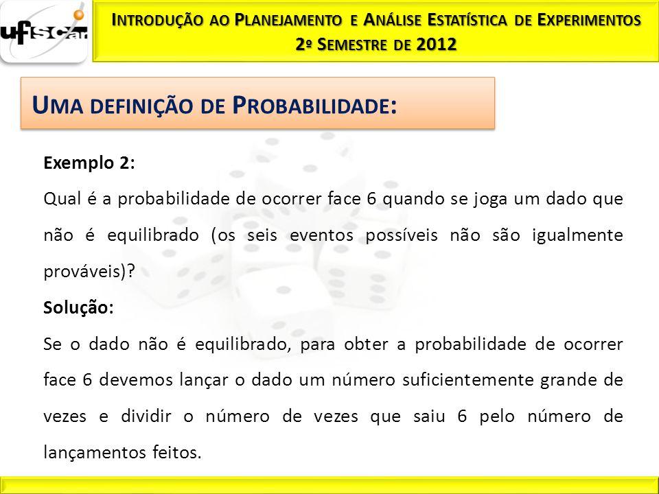 Exemplo 2: Qual é a probabilidade de ocorrer face 6 quando se joga um dado que não é equilibrado (os seis eventos possíveis não são igualmente prováve
