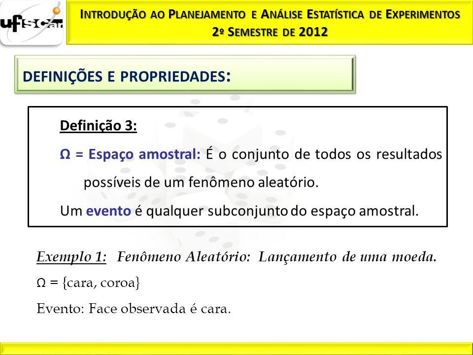 Exemplo 1: Fenômeno Aleatório: Lançamento de uma moeda. Ω = {cara, coroa} Evento: Face observada é cara. Definição 3: Ω = Espaço amostral: É o conjunt