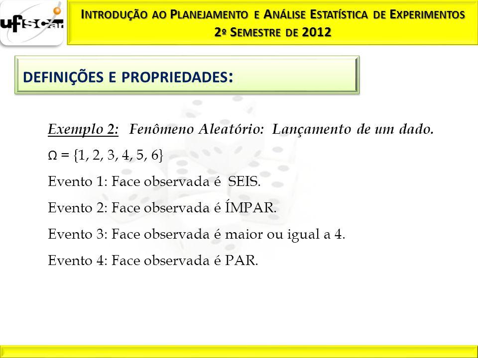 Exemplo 2: Fenômeno Aleatório: Lançamento de um dado. Ω = {1, 2, 3, 4, 5, 6} Evento 1: Face observada é SEIS. Evento 2: Face observada é ÍMPAR. Evento