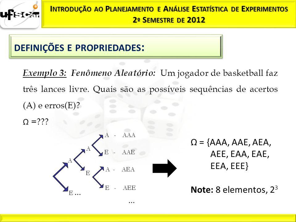 Exemplo 3: Fenômeno Aleatório: Um jogador de basketball faz três lances livre. Quais são as possíveis sequências de acertos (A) e erros(E)? Ω =??? Ω =