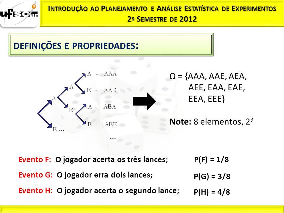 Evento F: O jogador acerta os três lances; Evento G: O jogador erra dois lances; Evento H: O jogador acerta o segundo lance; P(F) = 1/8 P(G) = 3/8 P(H