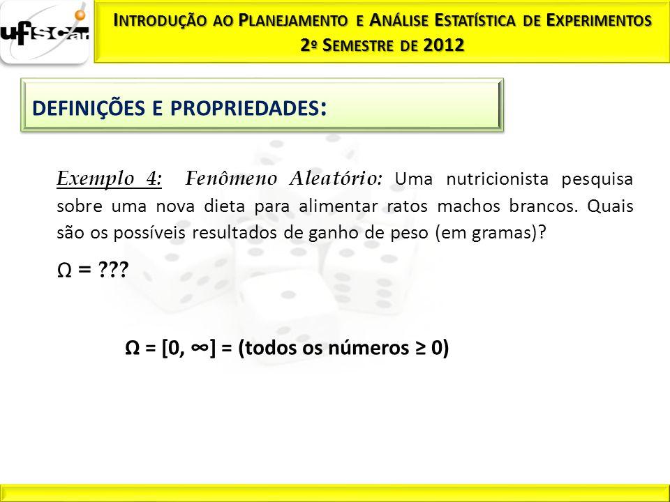 Ω = [0, ] = (todos os números 0) Exemplo 4: Fenômeno Aleatório: Uma nutricionista pesquisa sobre uma nova dieta para alimentar ratos machos brancos. Q