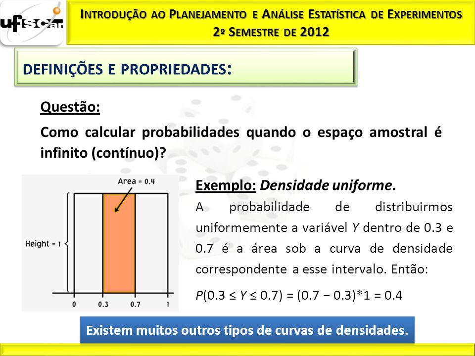 Questão: Como calcular probabilidades quando o espaço amostral é infinito (contínuo)? Exemplo: Densidade uniforme. A probabilidade de distribuirmos un