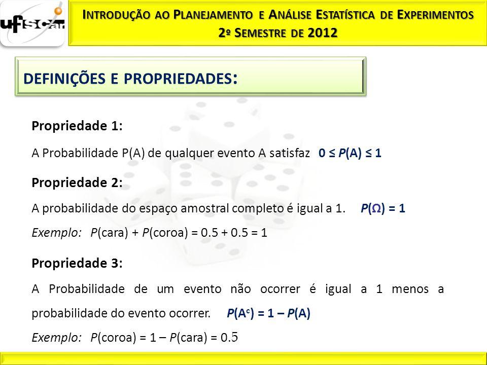 Propriedade 1: A Probabilidade P(A) de qualquer evento A satisfaz 0 P(A) 1 Propriedade 2: A probabilidade do espaço amostral completo é igual a 1. P(Ω