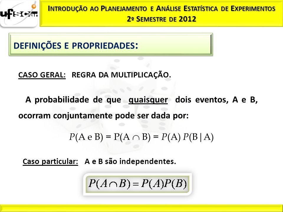 CASO GERAL: REGRA DA MULTIPLICAÇÃO. Caso particular: A e B são independentes. A probabilidade de que quaisquer dois eventos, A e B, ocorram conjuntame