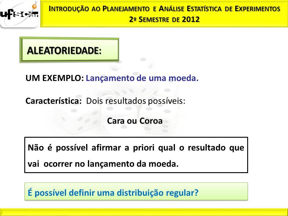 UM EXEMPLO: Lançamento de uma moeda. Característica: Dois resultados possíveis: Cara ou Coroa Não é possível afirmar a priori qual o resultado que vai