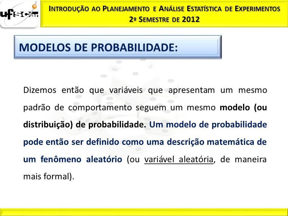 Dizemos então que variáveis que apresentam um mesmo padrão de comportamento seguem um mesmo modelo (ou distribuição) de probabilidade. Um modelo de pr