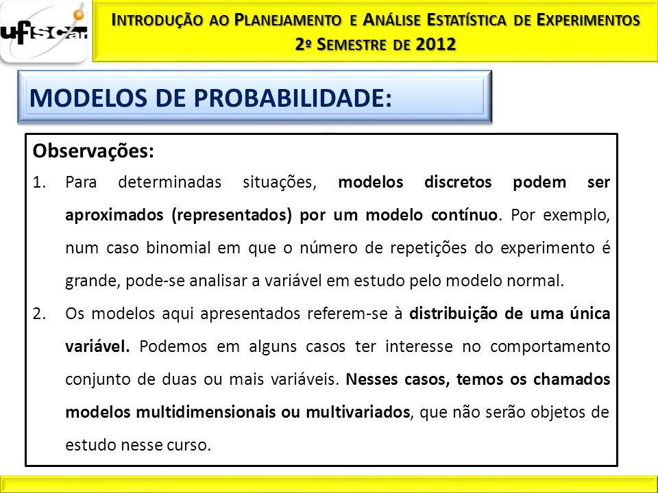 Observações: 1.Para determinadas situações, modelos discretos podem ser aproximados (representados) por um modelo contínuo. Por exemplo, num caso bino
