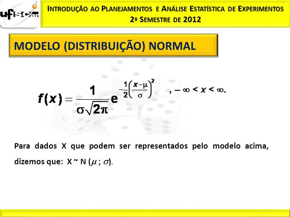 Para dados X que podem ser representados pelo modelo acima, dizemos que: X ~ N ( ).