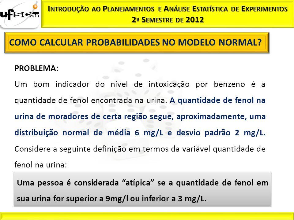 PROBLEMA: Um bom indicador do nível de intoxicação por benzeno é a quantidade de fenol encontrada na urina. A quantidade de fenol na urina de moradore