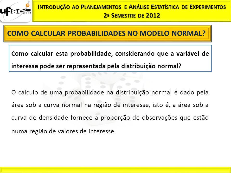 Como calcular esta probabilidade, considerando que a variável de interesse pode ser representada pela distribuição normal? O cálculo de uma probabilid