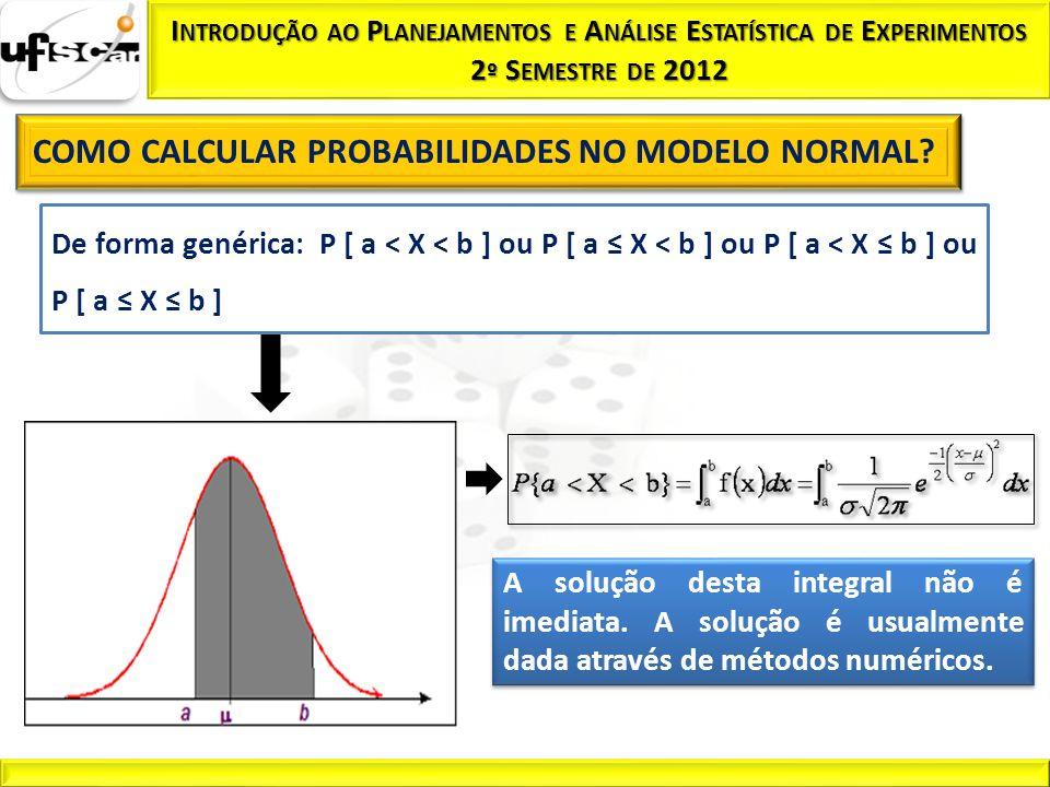 De forma genérica: P [ a < X < b ] ou P [ a X < b ] ou P [ a < X b ] ou P [ a X b ] A solução desta integral não é imediata. A solução é usualmente da