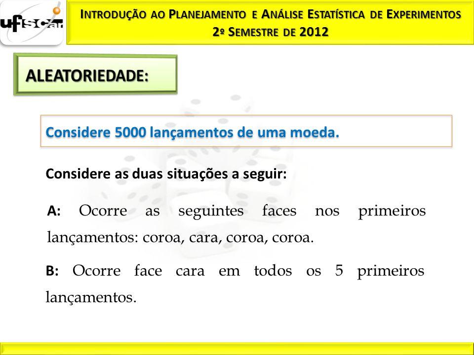 Considere 5000 lançamentos de uma moeda. Considere as duas situações a seguir: A: Ocorre as seguintes faces nos primeiros lançamentos: coroa, cara, co