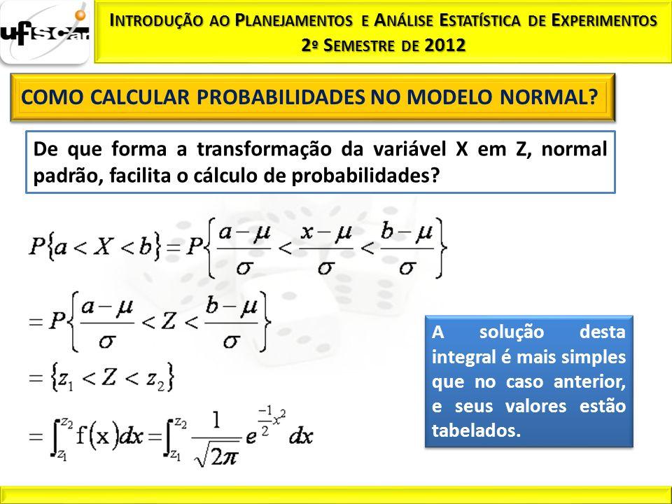 De que forma a transformação da variável X em Z, normal padrão, facilita o cálculo de probabilidades? A solução desta integral é mais simples que no c