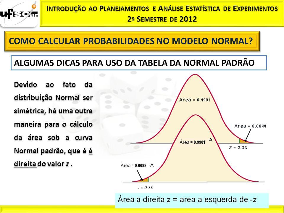 ALGUMAS DICAS PARA USO DA TABELA DA NORMAL PADRÃO Devido ao fato da distribuição Normal ser simétrica, há uma outra maneira para o cálculo da área sob