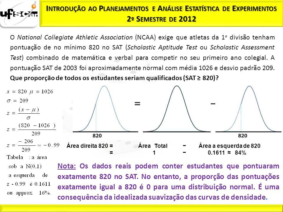 O National Collegiate Athletic Association (NCAA) exige que atletas da 1 a divisão tenham pontuação de no mínimo 820 no SAT (Scholastic Aptitude Test